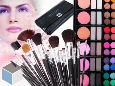 LUXUS-18tlg-Komestik-Pinsel-set-78-FARBEN-Lidschatten-Palette-Rouge-Makeup-set